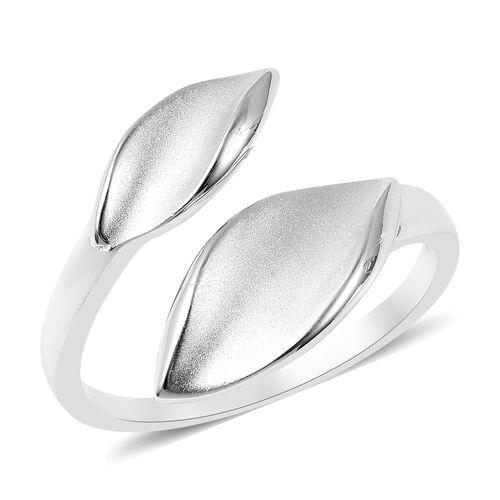 RACHEL GALLEY Rhodium Overlay Sterling Silver Sandblast Texture Leaf Design Bypass Ring