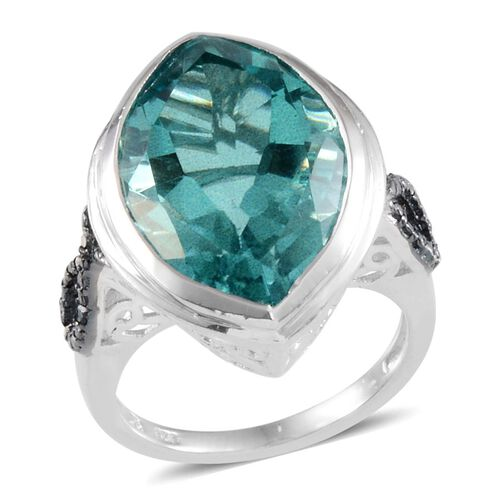 Paraiba Tourmaline Colour Quartz (Mrq 16.25 Ct), Blue Diamond Ring in Platinum Overlay Sterling Silver 16.280 Ct.