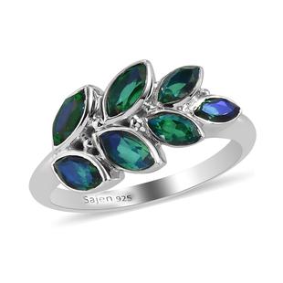 Sajen Silver-Quartz Doublet Rainbow Carabieen Peacock Ring in Rhodium Overlay Sterling Silver 1.71 C