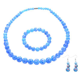 3 Piece Set -  Blue Murano Glass Style  Necklace (Size 20 with Magnetic Lock), Stretchable Bracelet