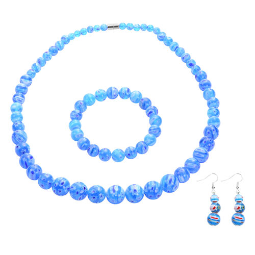 3 Piece Set -  Blue Murano Glass Necklace (Size 20 with Magnetic Lock), Stretchable Bracelet (Size 6