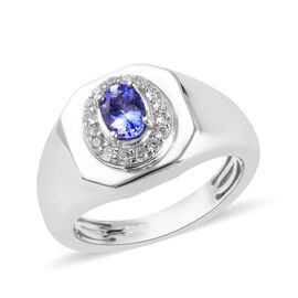 1.01 Ct Tanzanite and Zircon Signet Halo Ring in Platinum Plated Sterling Silver 6.50 Grams