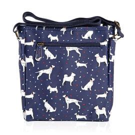 Navy Blue Colour Dog Pattern Water Resistant Crossbody Bag with Adjustable Shoulder Strap (Size 24x2