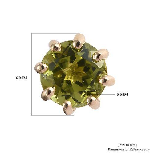 9K Yellow Gold AA  Hebei Peridot (Rnd) Earrings (with Push Back) 1.000 Ct.