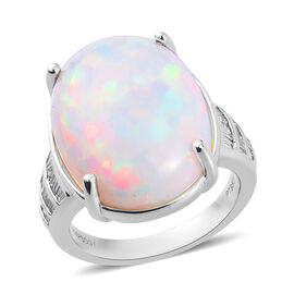 RHAPSODY 950 Platinum AAAA Ethiopian Welo Opal (Ovl 20x15mm) and Diamond (VS/E-F) Ring 11.50 Ct., Pl