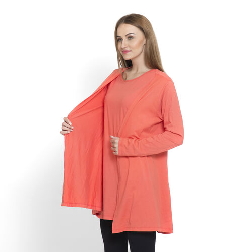 One Time Close Out Deal-Set of 2 -  100% Cotton Dark Coral Colour Long Sleeve Tank Top (Size Small / Medium)