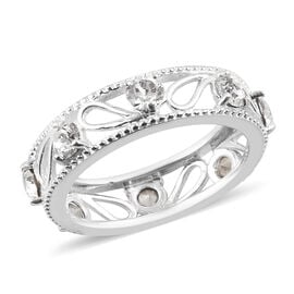 J Francis White Colour Crystal from Swarovski Band Ring in Sterling Silver