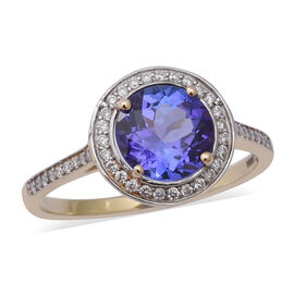 ILIANA 2.35 Ct AAA Tanzanite and Diamond Halo Ring in 18K Yellow Gold 3.07 Grams SI GH