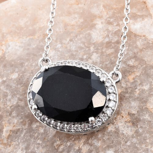 Black Tourmaline (Ovl 12.50 Ct), Natural Cambodian Zircon Necklace (Size 18) in Platinum Overlay Sterling Silver 13.000 Ct.