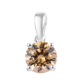 J Francis - Sterling Silver (Rnd) Solitaire Pendant Made with Yellow SWAROVSKI ZIRCONIA