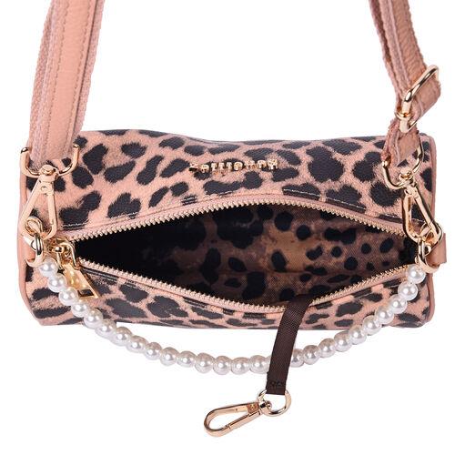 Sencillez Leopard Pattern 100% Genuine Leather Barrel Crossbody Bag in Peach & Black