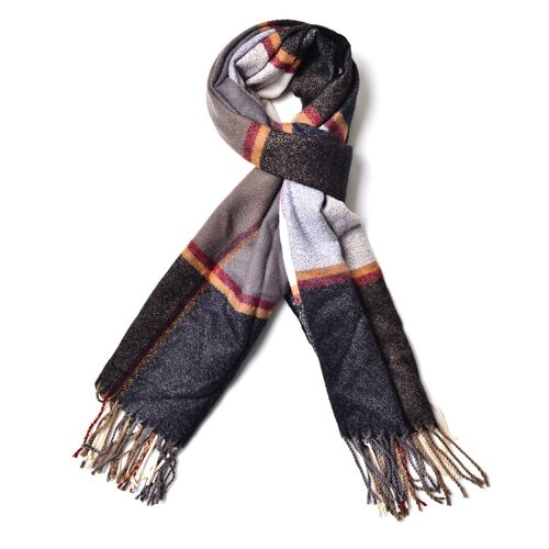 Grey, Red, Orange, Black and White Colour Scarf with Long Tassels (Size 180x65 Cm)
