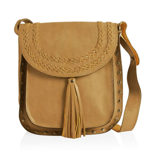 Genuine Leather Mustard Colour Crossbody Bag with Shoulder Strap