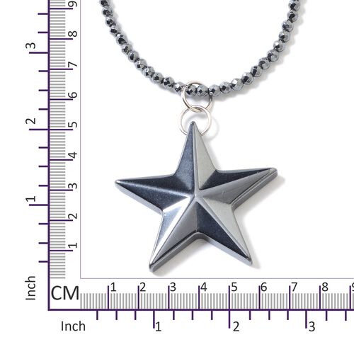 One Time Deal- Set of 2 Hematite Necklace (Size 22) and Star Pendant Set in Stainless Steel With Magnetic Lock 110.500 Ct.