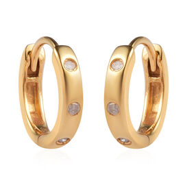 Diamond Huggie Hoop Earrings (with Clasp) 14K Gold Overlay Sterling Silver 0.10 Ct.
