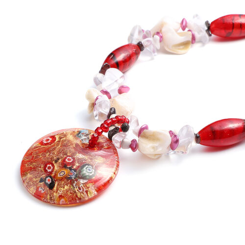 Red Murano Beads, White Austrian Crystal, Red Garnet and Multi Gemstone Nceklace (Size 28 with 3 inch Extender) in Silver Tone