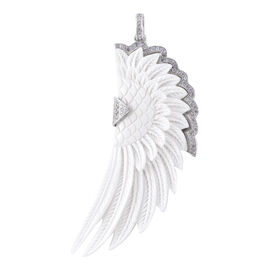 Bali Legacy 5.83 Ct Carved Face and Zircon Angel Wing Pendant in Sterling Silver