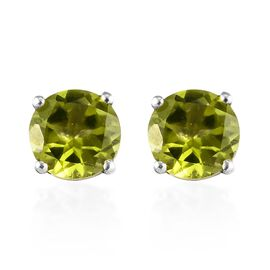 Hebei Peridot (Rnd 6 mm) Stud Earrings (with Push Back) in Platinum Overlay Sterling Silver 1.75 Ct.