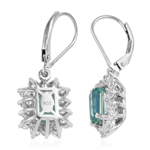 Peacock Quartz (Oct 8x6 mm), Natural Cambodian Zircon Lever Back Earrings in Platinum Overlay Sterling Silver 5.750 Ct.