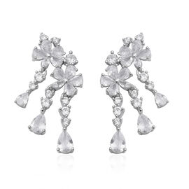 ELANZA Simulated Diamond Floral Earrings with Push Back in Rhodium Plated Sterling Silver