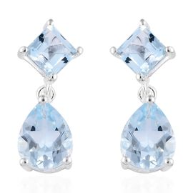 Sky Blue Topaz (Pear and Sqr) Earrings (with Push Back) in Sterling Silver 4.25 Ct.