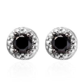 Black Diamond Solitaire Stud Earrings in Platinum Overlay Sterling Silver