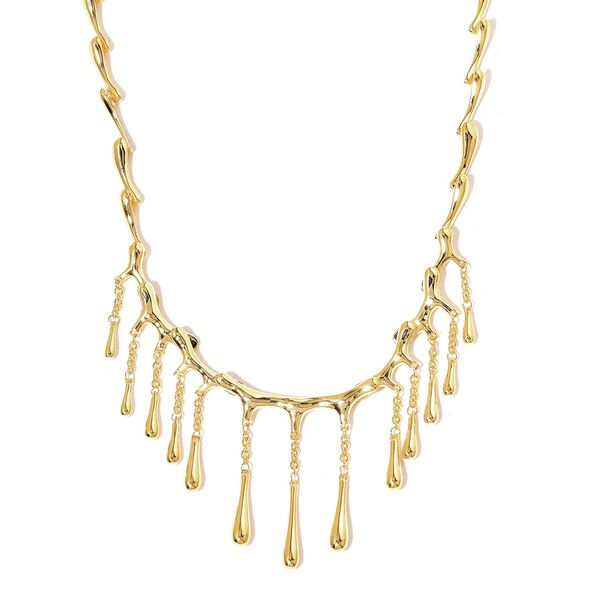 LucyQ Multi Drip Necklace (Size 16 with 4 inch Extender) in Yellow Gold Overlay Sterling Silver 44.51 Gms.