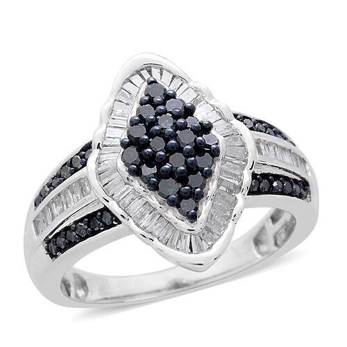 Blue Diamond (Rnd), White Diamond Ring in Black Rhodium and Platinum Overlay Sterling Silver 1.000 C