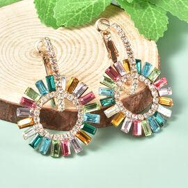 White Austrian Crystal and Simulated Multi Gemstone Hoop Earrings in Gold Tone