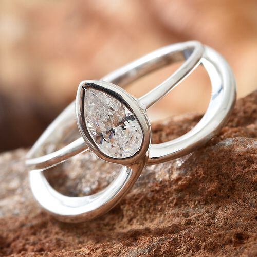 J Francis - Sterling Silver (Pear) Solitaire Ring Made with SWAROVSKI ZRICONIA