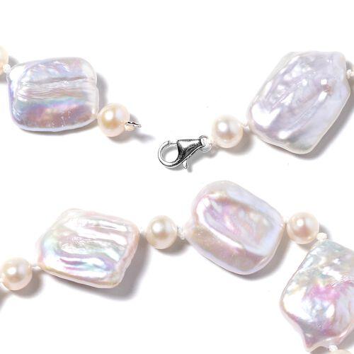 ILIANA 18K White Gold Baroque White Pearl Necklace (Size 20)