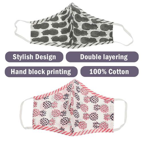 Set of 2 - 100% Cotton Hand Block Printed Reusable Double Layer Face Cover (One Size Fits All) - White and Red