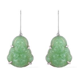 15.50 Ct Green Jade Laughing Buddha Earrings in Rhodium Plated Silver