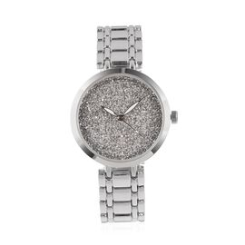 GENOA Japanese Movement Silver Light Colour Dial Water Resistant Watch with Silverlight Swarovski Crystals in Silver Tone with Chain Strap