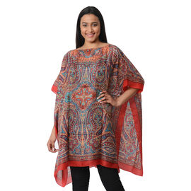 100% Mulberry Silk Kaftan One Size (90x100 Cm) - Red and Multi Colour