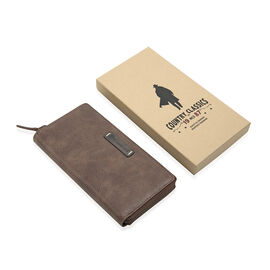 MCS Country Classics: 100% Genuine Leather Wallet - Dark Brown and Cognac