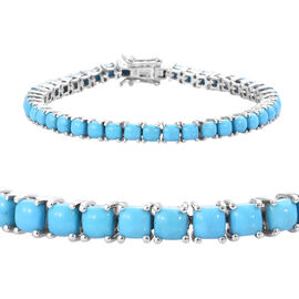 12.5 Ct Sleeping Beauty Turquoise Tennis Bracelet in Platinum Plated Sterling Silver 12.56 Grams