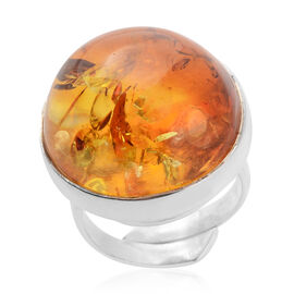 Bi-Colour Baltic Amber Adjustable Solitaire Ring in Sterling Silver 6 Grams