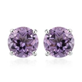 Rose De France Amethyst (Rnd) Stud Earrings (with Push Back) in Platinum Overlay Sterling Silver 2.2