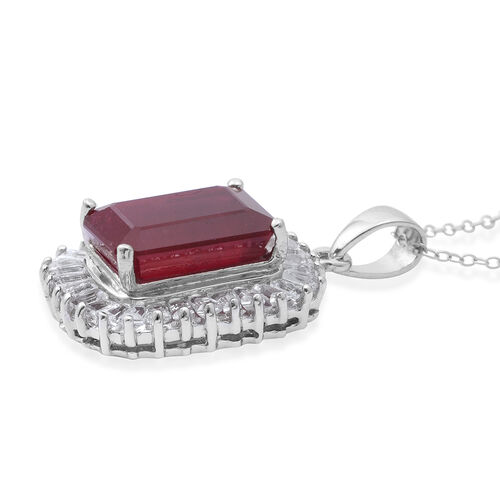 AAA Very Rare Size African Ruby (Oct 11.35 Ct), White Topaz Pendant with Chain in Rhodium Plated Sterling Silver 14.250 Ct. Silver wt 5.55 Gms.