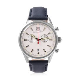 WILLIAM HUNT Swiss Movement Water Resistance Watch in Stainless Steel with Navy Blue Leather Strap
