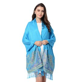 Blue Colour Paisley Pattern Scarf with Tassels (Size 180x68+8 Cm)