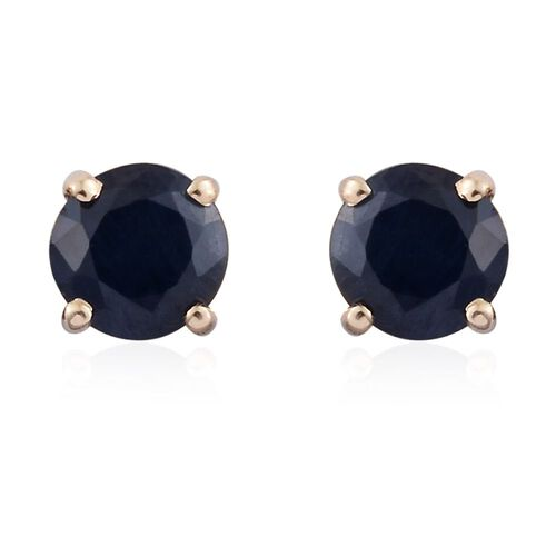 9K Yellow Gold 1.05 Ct AA Kanchanaburi Blue Sapphire Solitaire Stud Earrings with Push Back