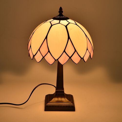 Luxury Edition - Tiffany Style Table Lamp with Stained Glass Mosaic Shade in Art Deco Design (Size 25 cm diameter x 40 cm H)
