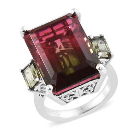 Finch Quartz (Oct 18.75 Ct), Bohemian Moldavite Ring in Platinum Overlay Sterling Silver 19.750 Ct.