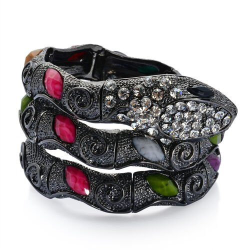 White Austrian Crystal and Multi Colour Simulated Stone Bracelet (Size 7.5) in Black Tone