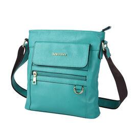 SENCILLEZ Womens Genuine Leather Crossbody Bag with Shoulder Strap - Green