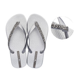 Ipanema Glam Special Crystal Flip Flop in Silver