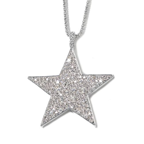 Designer Inspired - White Austrian Crystal Star Pendant With Chain (Size 28)