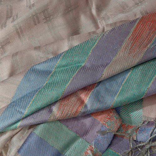 Jacquard Pattern 100% Mulberry Silk Light Pink and Silver Colour Scarf (Size 70x180 Cm)